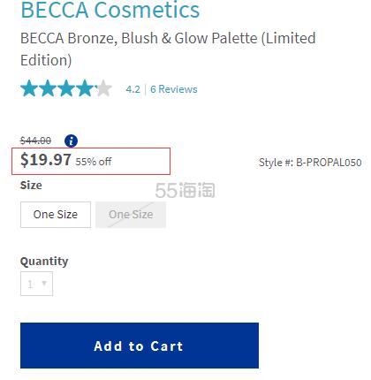 BECCA 限量版四色高光腮红修容盘 .97(约139元) - 海淘优惠海淘折扣|55海淘网