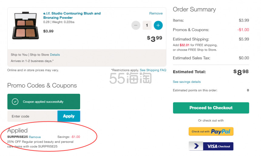 Walgreens:精选 e.l.f. 开架彩妆产品 正价产品7.5折优惠! - 海淘优惠海淘折扣|55海淘网
