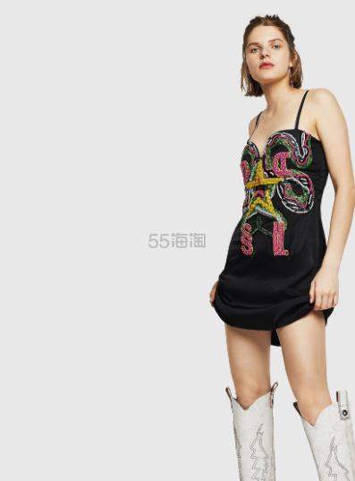 Diesel 刺绣珠钉吊带裙 8(约2,075元) - 海淘优惠海淘折扣 55海淘网
