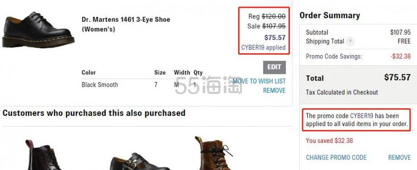 【额外7折】Dr. Martens 1461 3孔 女子马丁靴 .57(约526元) - 海淘优惠海淘折扣 55海淘网