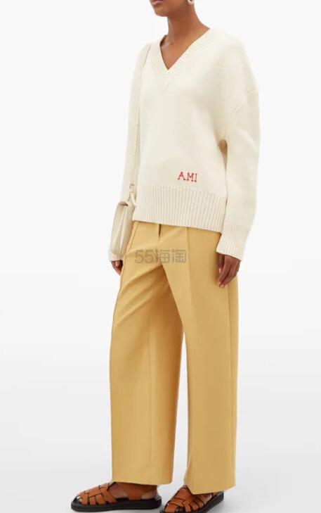 AMI 女士V领白色毛衣 €229(约1,781元) - 海淘优惠海淘折扣|55海淘网