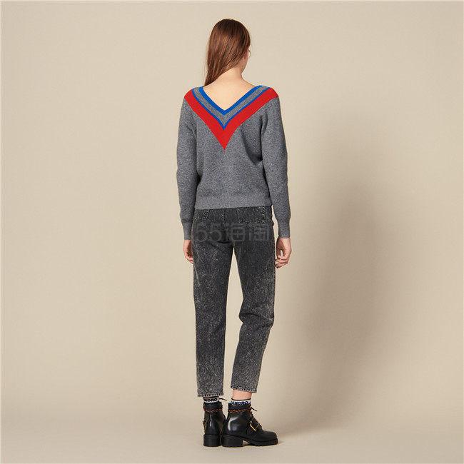Sandro 撞色条纹 V 领毛衣 8(约1,659元) - 海淘优惠海淘折扣|55海淘网