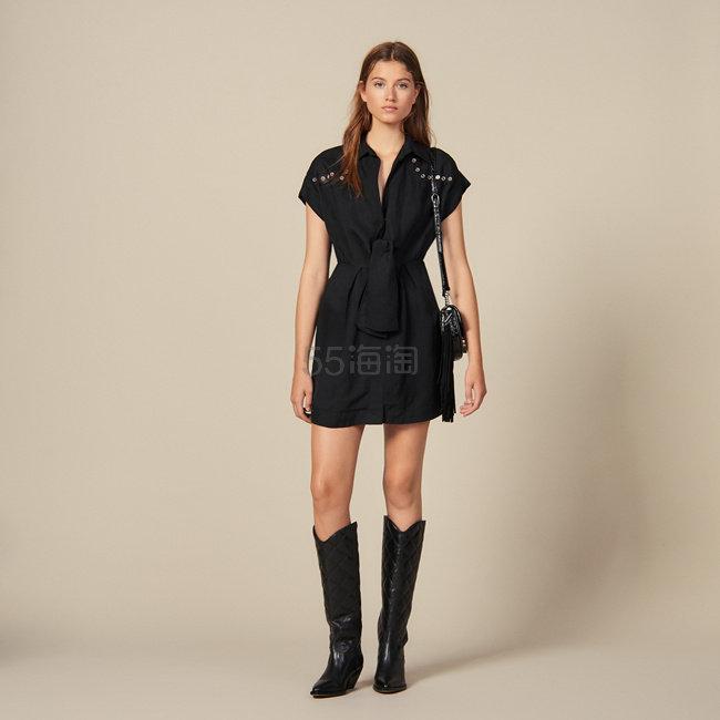 Sandro 绑带短袖连衣裙 7.5(约1,433元) - 海淘优惠海淘折扣|55海淘网