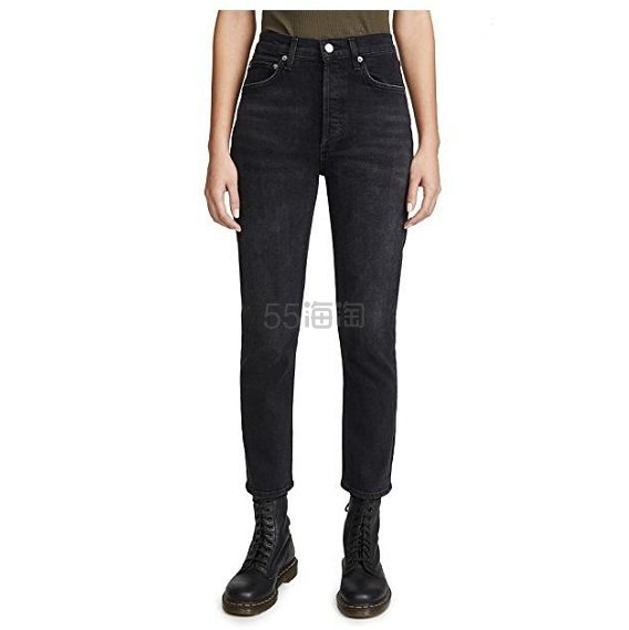 补货上架~AGOLDE Riley 黑色高腰牛仔裤 8(约1,224元) - 海淘优惠海淘折扣|55海淘网