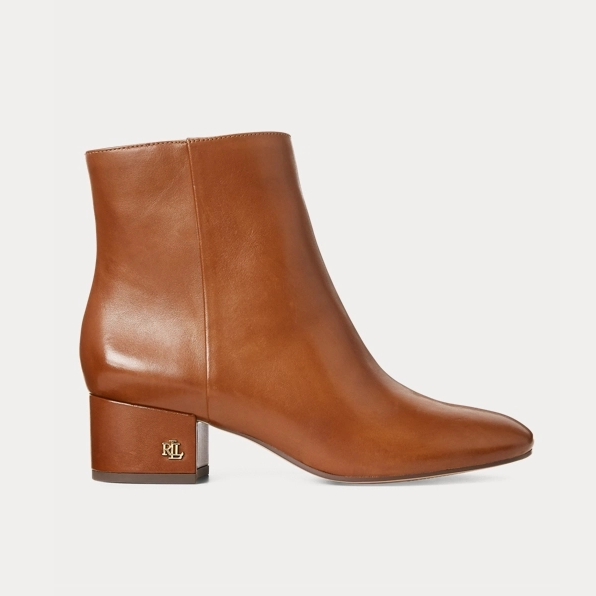 Ralph Lauren 拉夫劳伦官网 Welford Leather Bootie 皮革女靴