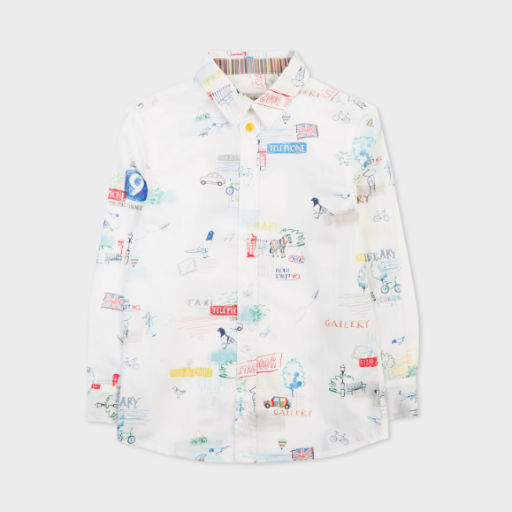 Paul Smith 官网 White London Sketch Motif Shirt 2-10岁伦敦插画衬衫