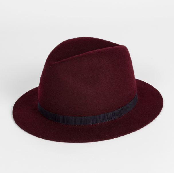 Paul Smith 官网 Burgundy Wool Felt Fedora Hat 勃艮第红酒礼帽