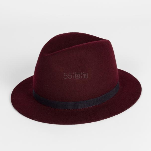 Paul Smith 官网 Burgundy Wool Felt Fedora Hat 勃艮第红酒礼帽