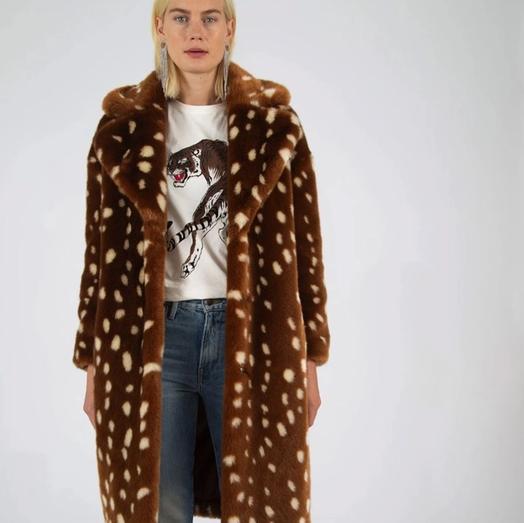 JAKKE 动物小鹿纹毛绒大衣外套