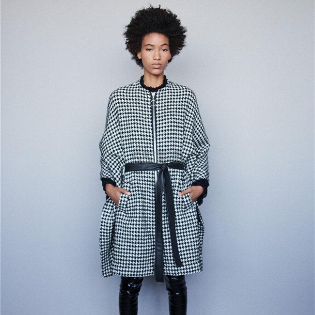 Maje 官网 斗篷式两穿格纹大衣 7.5(约2,299元) - 海淘优惠海淘折扣|55海淘网