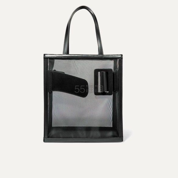 BOYY Frame 搭扣皮革网布手提包