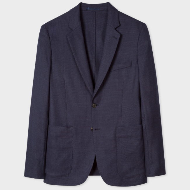 Paul Smith 官网 Slim-Fit Navy Unlined Wool-Hopsack 修身羊毛西装
