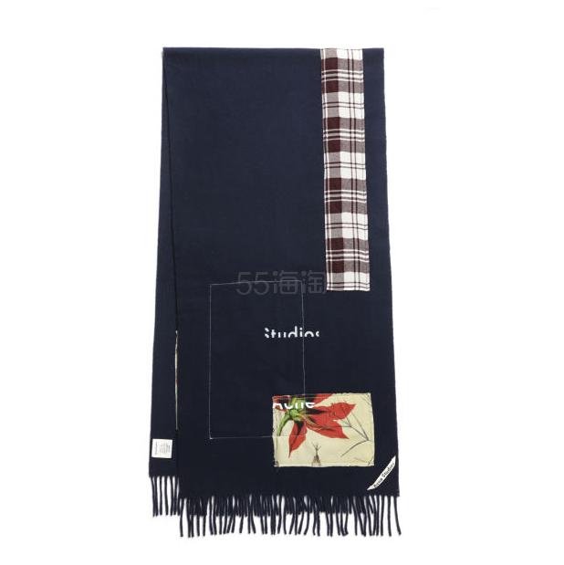 【额外满3件享8.5折】Acne Studios Logo 羊毛拼布缝饰围巾 ¥1,679 - 海淘优惠海淘折扣|55海淘网