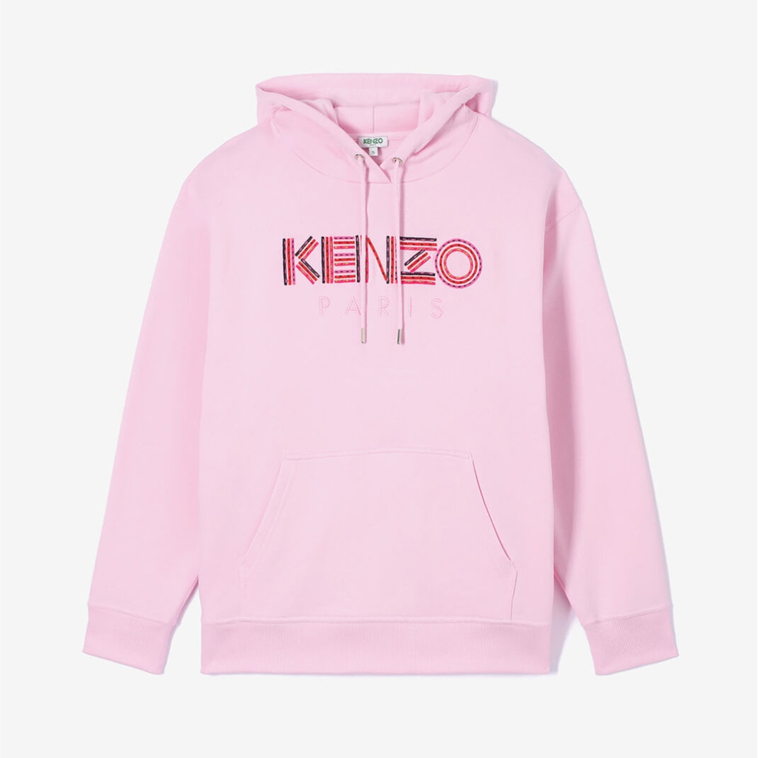 KENZO 粉色 logo 连帽衫