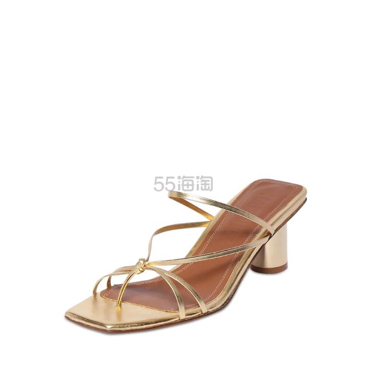 SOULIERS MARTINEZ 金色中跟凉鞋 8(约2,607元) - 海淘优惠海淘折扣|55海淘网