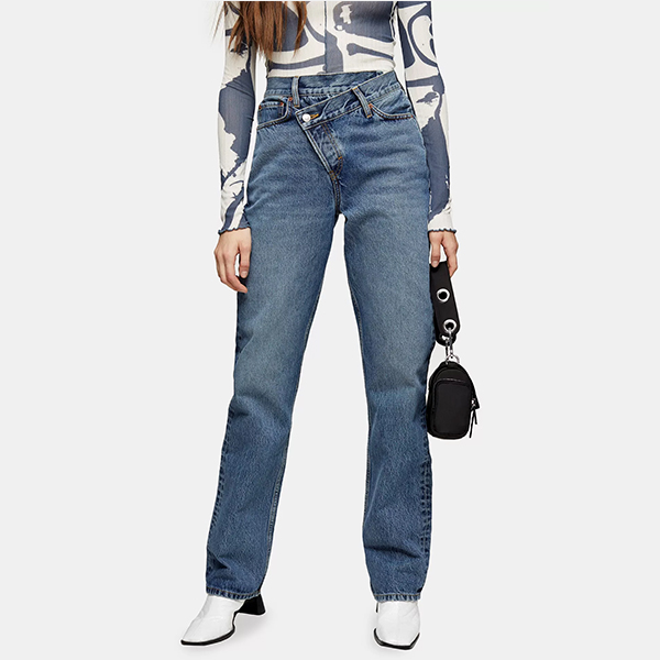 Topshop 不规则设计直筒牛仔裤