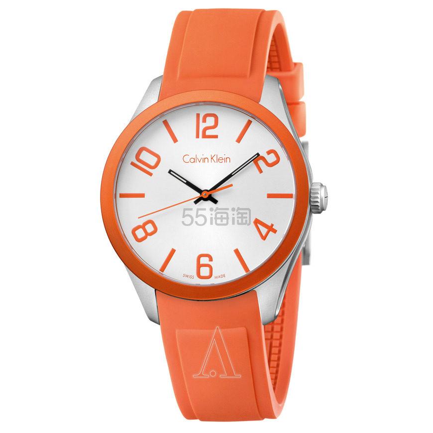 近期低价!Calvin Klein 卡尔文·克雷恩 Color 系列 橙色男士时装腕表 K5E51YY6