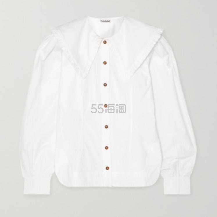 GANNI 褶饰纯棉府绸女衫 0(约1,105元) - 海淘优惠海淘折扣|55海淘网