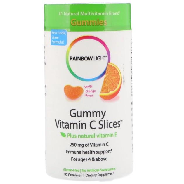 Rainbow Light 软糖维生素C片 浓郁柑橘味 90粒