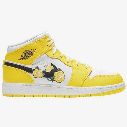 乔丹 Air Jordan 1 Mid SE 大童款篮球鞋 黄玫瑰