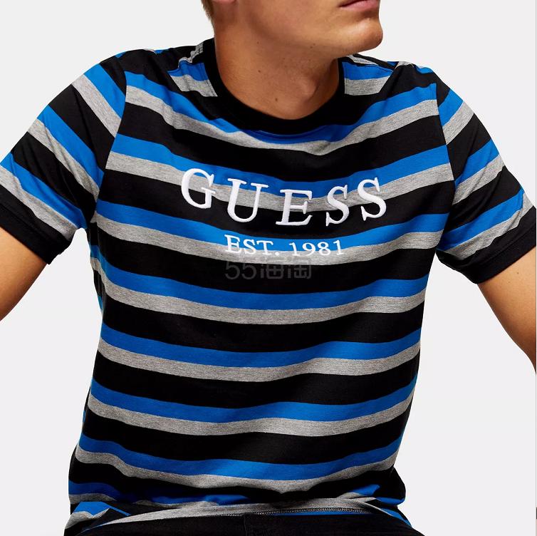 Guess 男士条纹短袖 T 恤 £27.99(约255元) - 海淘优惠海淘折扣|55海淘网