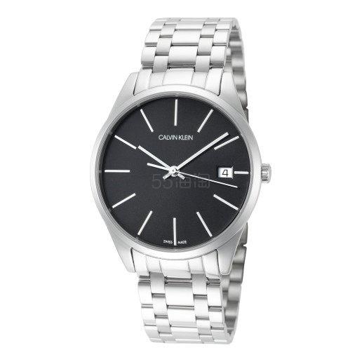 近期低价!Calvin Klein 卡尔文·克雷恩 Time 系列 银黑色男士时装腕表 K4N23141
