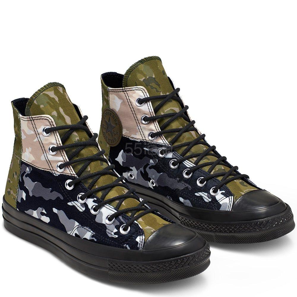 Converse 匡威 Chuck 70 复古三星标迷彩拼接高帮帆布鞋
