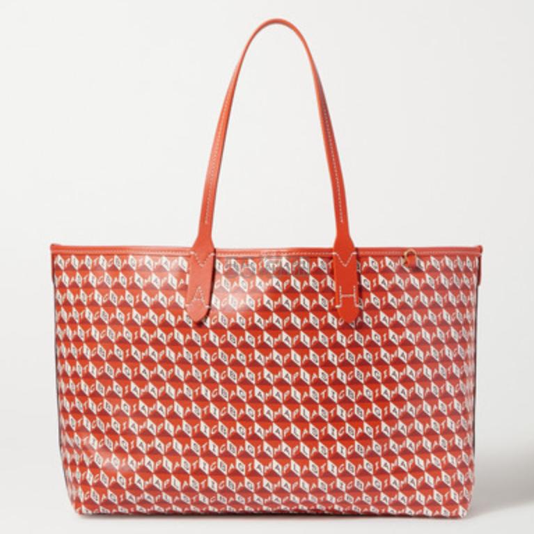 Anya Hindmarch I Am A Plastic Bag 皮革边饰印花涂层帆布小号手提包 £595(约5,419元) - 海淘优惠海淘折扣|55海淘网