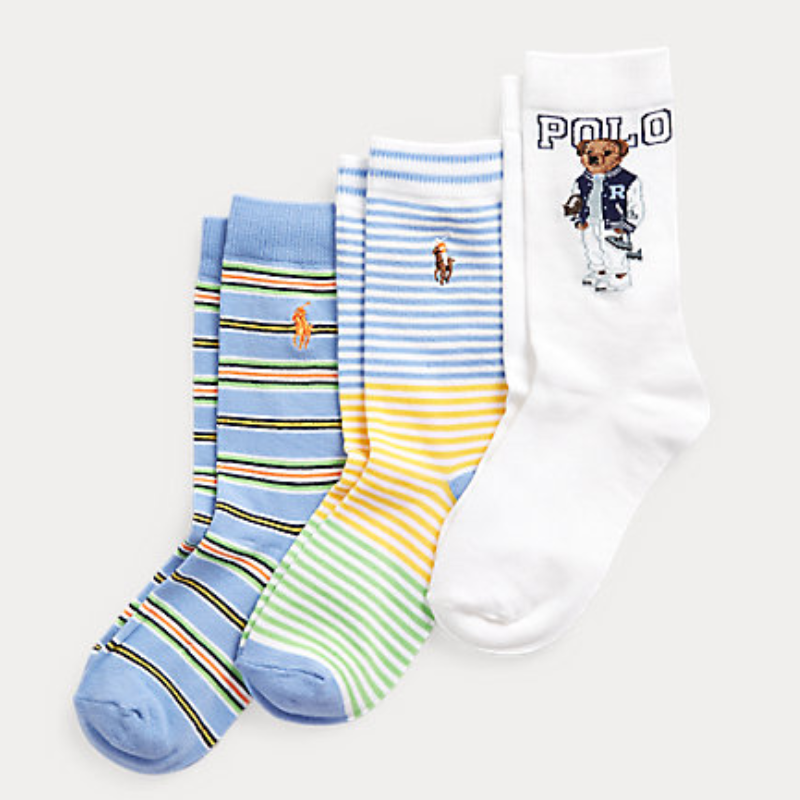 Ralph Lauren 拉夫劳伦 Polo Bear Crew Sock 3-Pack 中筒袜3双装