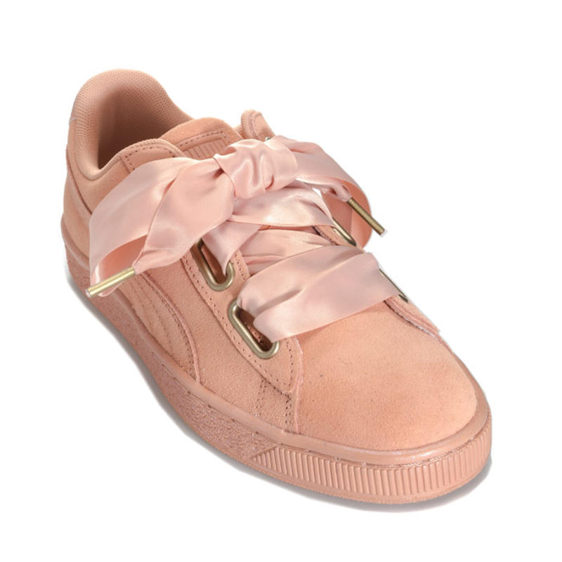Puma 彪马 Suede Heart Satin 珊瑚粉蝴蝶结运动鞋