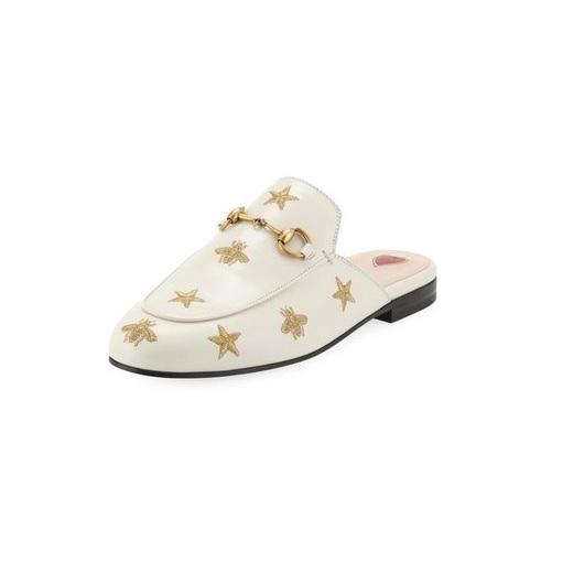 Gucci 古驰 白色刺绣穆勒拖鞋