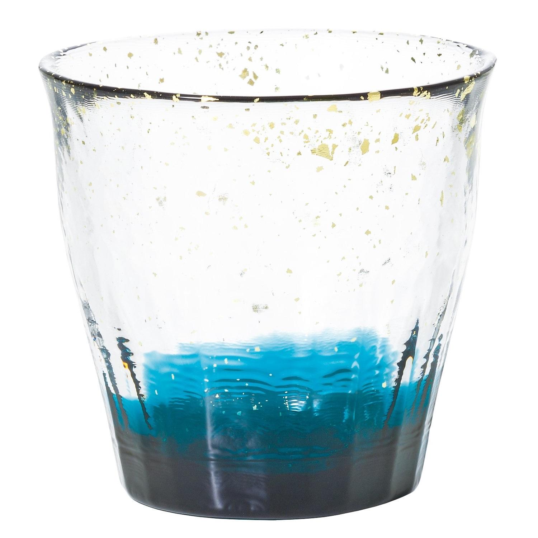 Aderia 石塚硝子 津轻系列 手工锤纹金箔茶杯酒杯 300ml