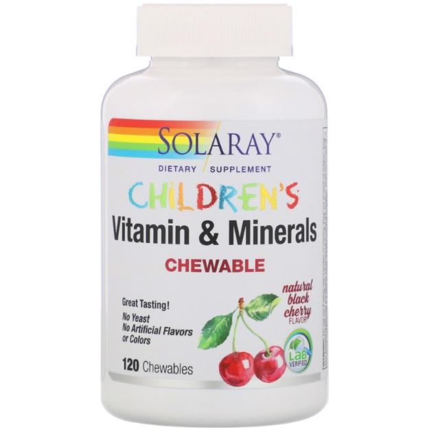 Solaray 儿童维生素矿物质咀嚼片 天然黑樱桃味 120片