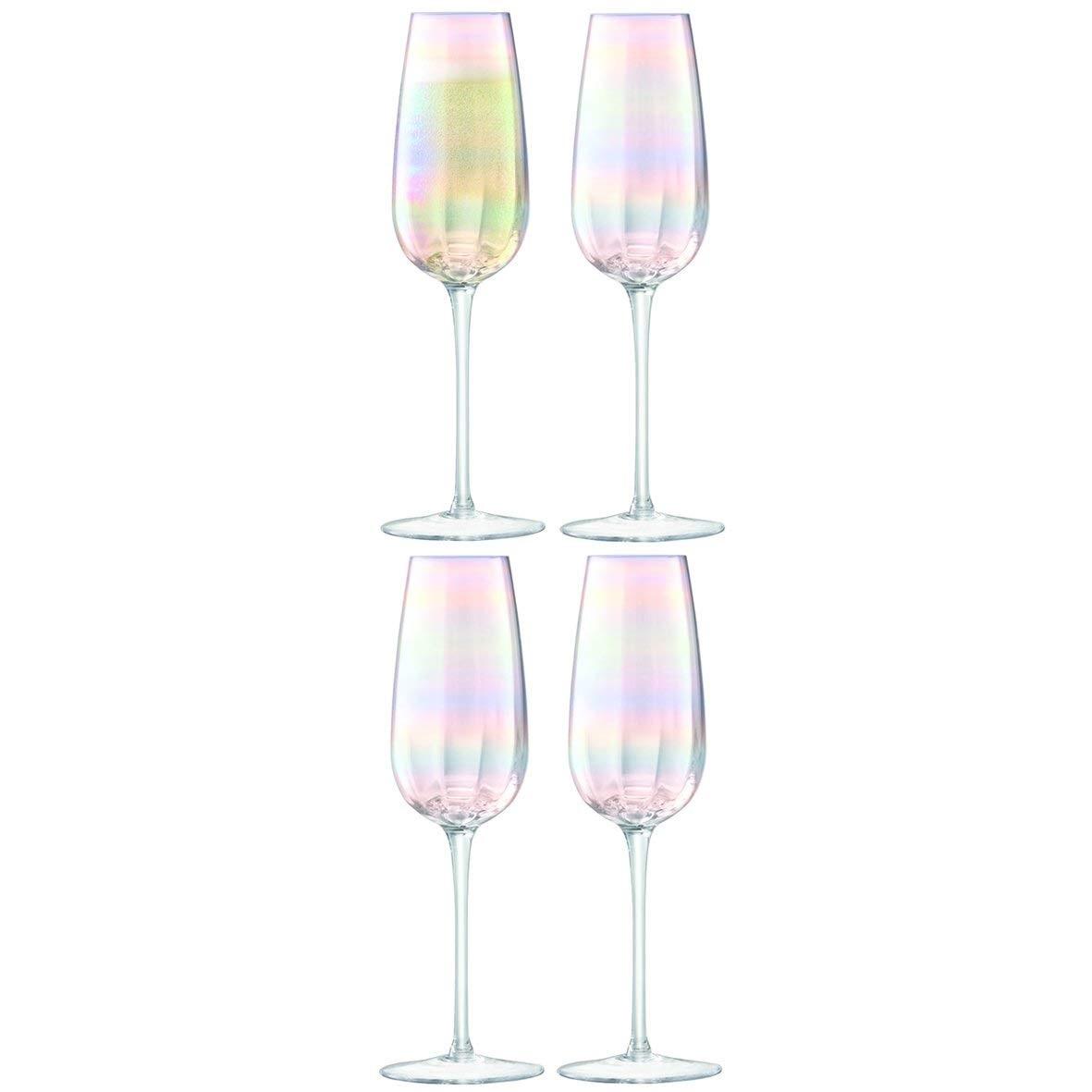LSA International 珍珠母贝玻璃香槟杯高脚杯 4个装
