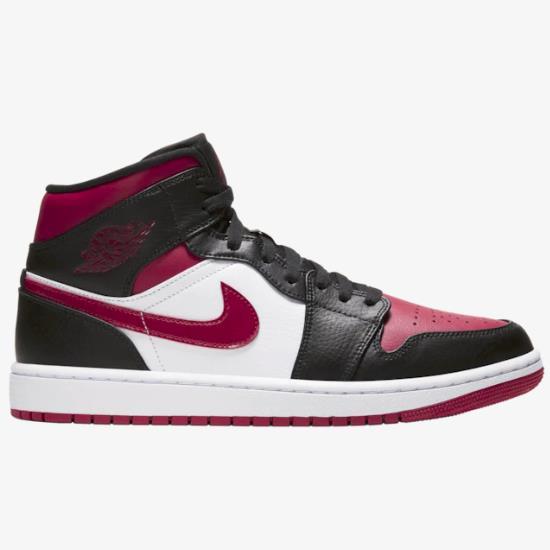 乔丹 Air Jordan 1 Mid 男子篮球鞋 黑红脚趾