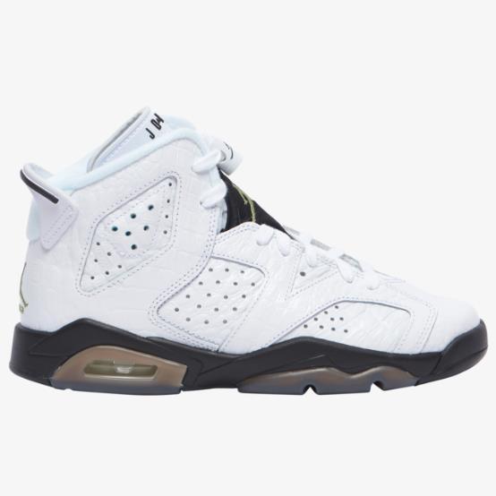 乔丹 Air Jordan Retro 6 大童款篮球鞋 白鳄鱼