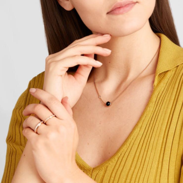 Piaget Possession 18K 玫瑰金、缟玛瑙、钻石项链