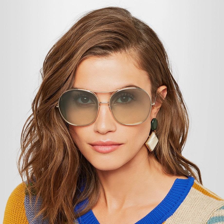 Chloe 蔻依 NOLA 女士墨镜太阳镜 CE137S 金色边框绿色镜片