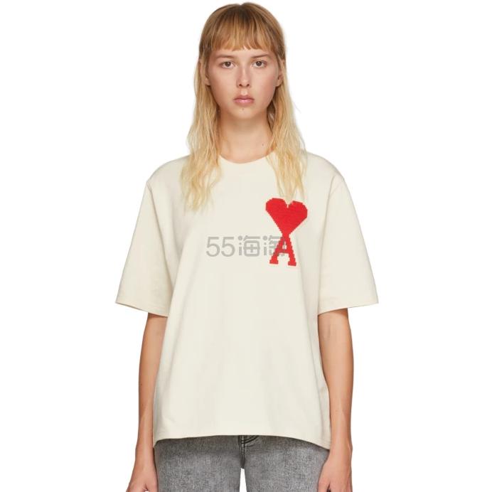 AMI Alexandre Mattiussi 灰白色 Ami De Coeur 大廓形T恤 4(约1,013元) - 海淘优惠海淘折扣 55海淘网