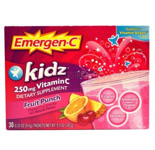 Emergen-C 儿童维生素C混合果汁碳酸饮料 250mg 30包 .99(约70元) - 海淘优惠海淘折扣 55海淘网