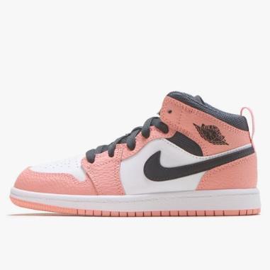 乔丹 Air Jordan 1 Mid 中童款篮球鞋 樱花粉