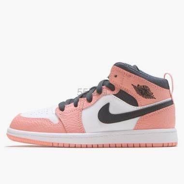 【新款】乔丹 Air Jordan 1 Mid 中童款篮球鞋 樱花粉 (约457元) - 海淘优惠海淘折扣|55海淘网