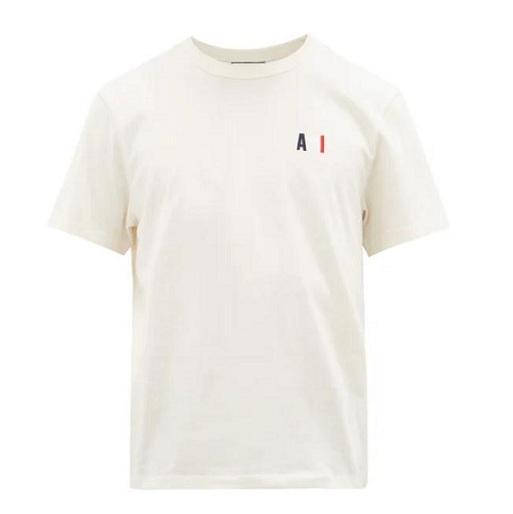 AMI logo刺绣白色T恤衫