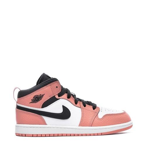 Jordan 乔丹 1 Mid Pink Quartz 中童款篮球鞋 樱花粉