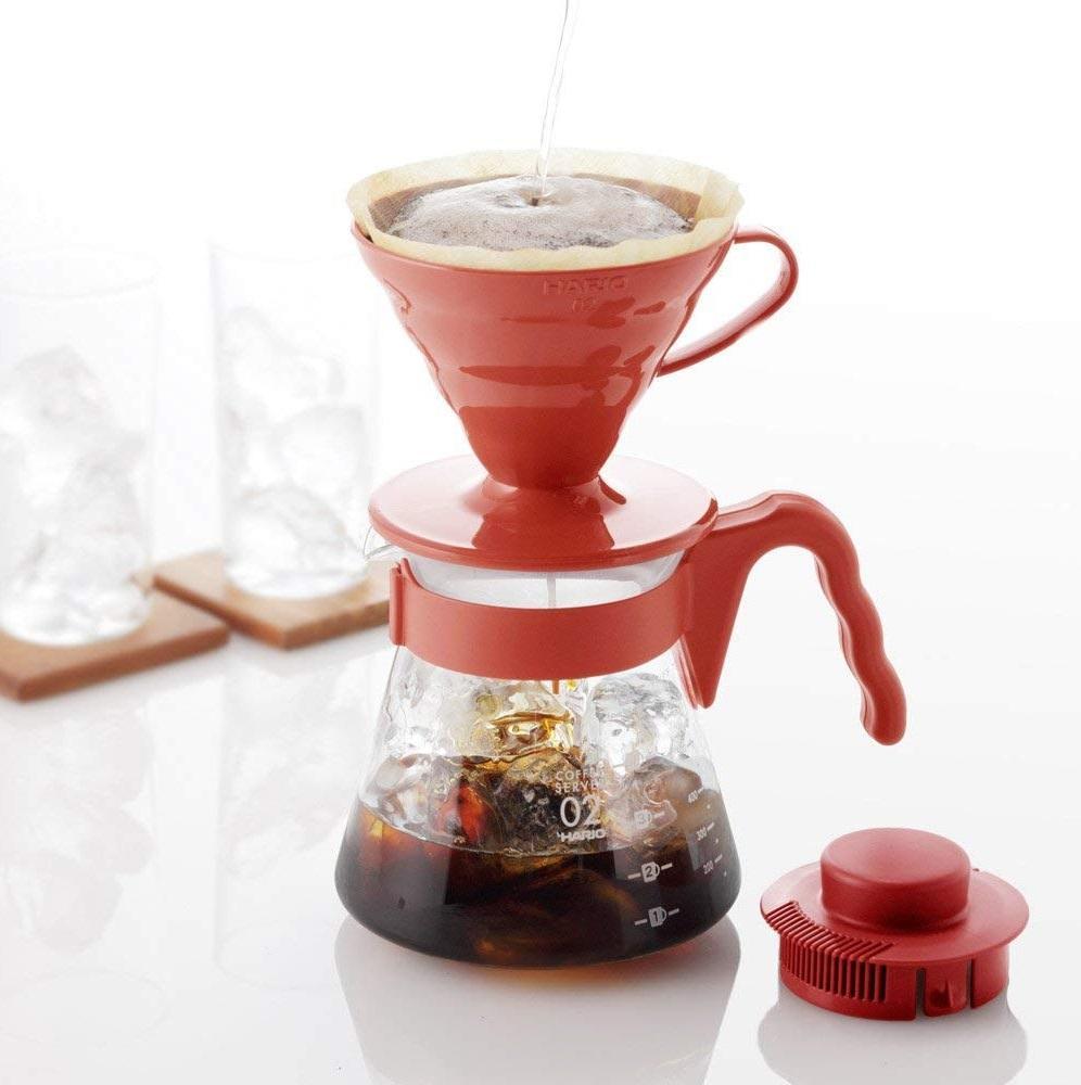 3件9折!Hario V60 手冲咖啡壶家用滴漏式滤杯玻璃咖啡壶套装 VCSD