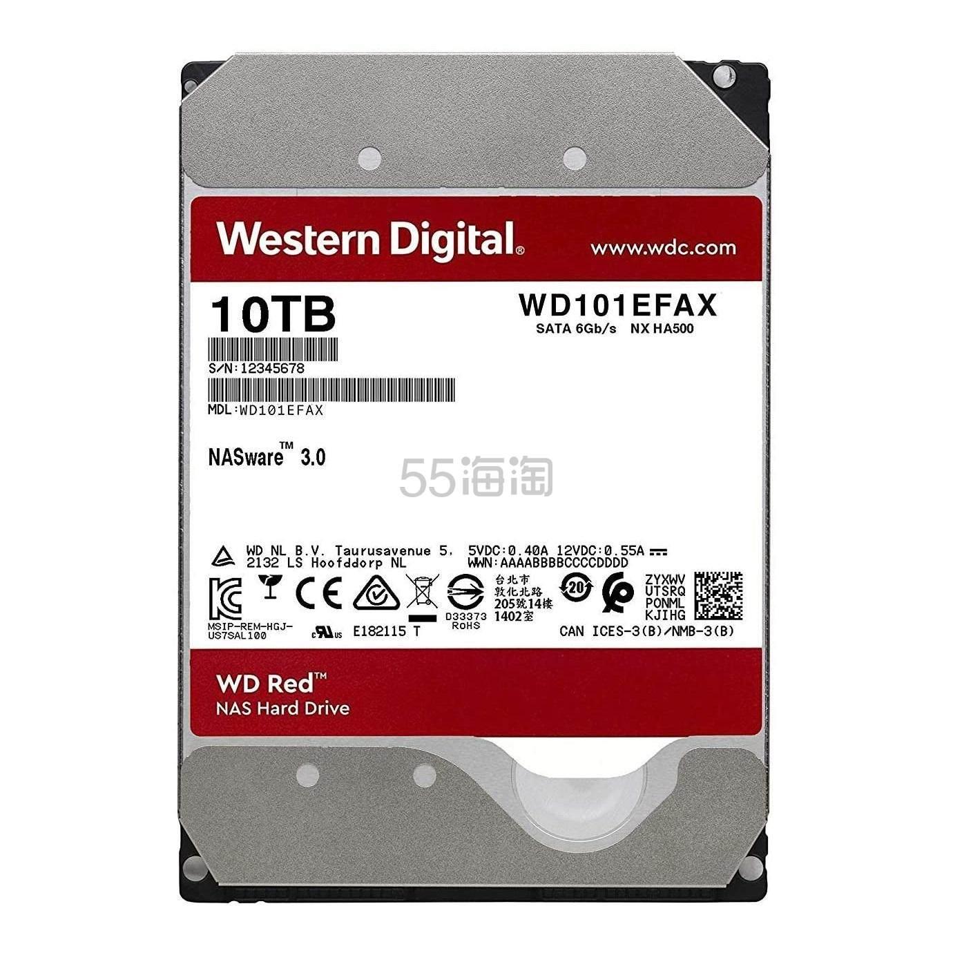 3件9折!【中亚Prime会员】Western Digital 西部数据 红盘 10TB SATA NAS网络存储硬盘 WD101EFAX 到手价1654元 - 海淘优惠海淘折扣|55海淘网