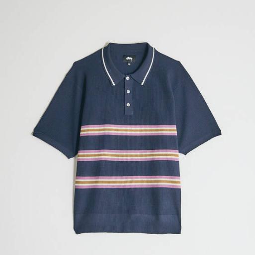 Stüssy Montego 海军蓝条纹polo衫
