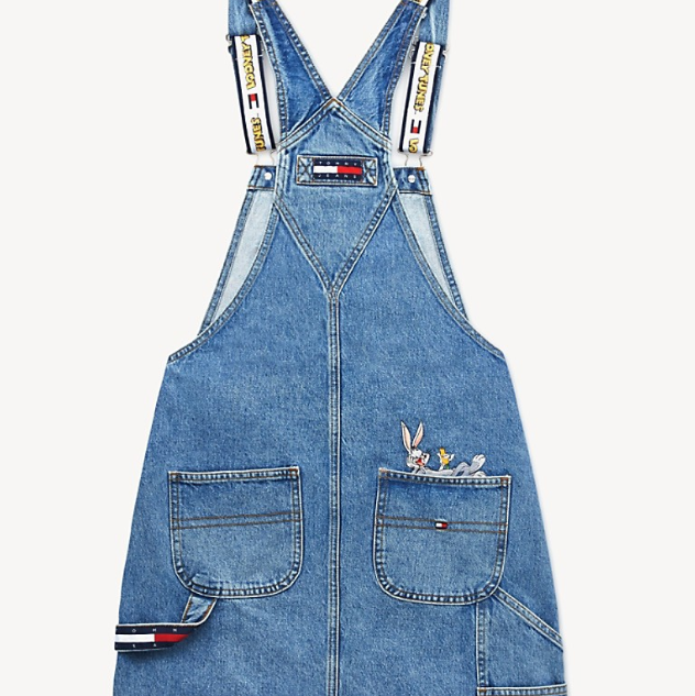TOMMY JEANS X LOONEY TUNES 刺绣背带牛仔裙