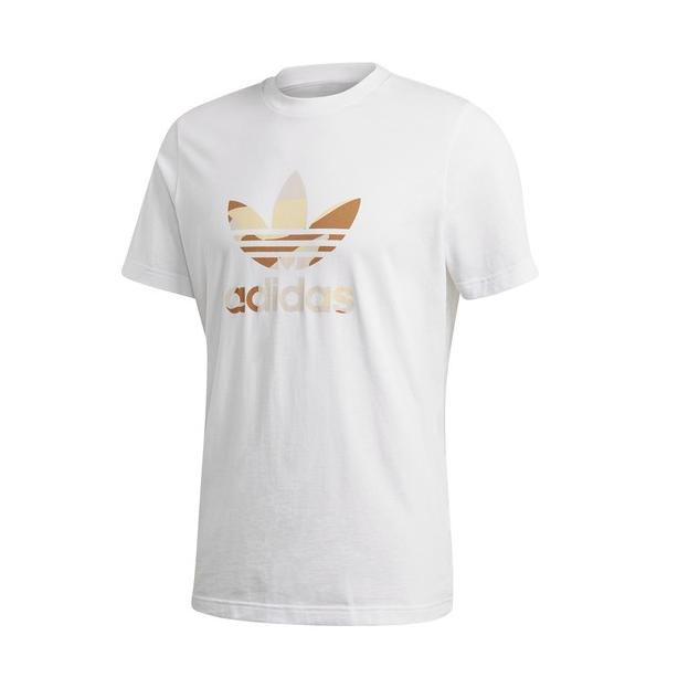 adidas 男士白色T恤衫