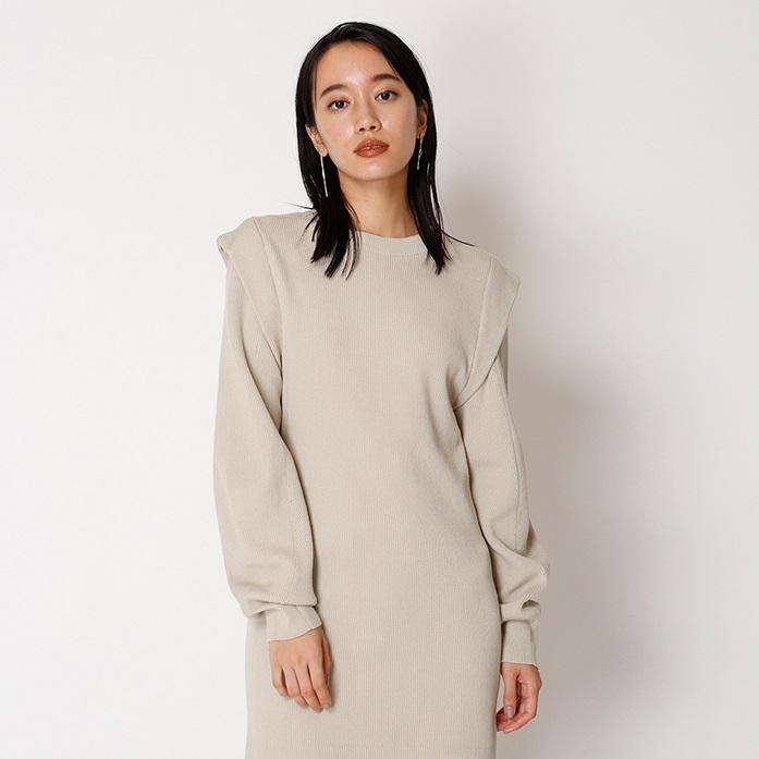 3件9折!Snidel 纯色飞袖长袖罗纹针织包臀连衣裙 SWNO195052